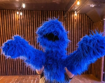 Furry blue puppet (Custom add ons available)