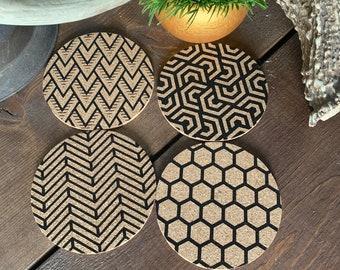 Laser Engraved Cork Coasters, Geometric, Cork Coasters, Wedding Gift, Tableware, Coaster Set, Unique Gift