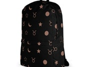 Taurus Zodiac Astrology Tapestry Backpack - Black