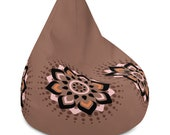 Brown Bean Bag Chair Cover with Black, Orange and Pink Flower Graphic Floral Design
