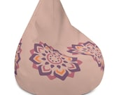Cream Bean Bag Chair Cover with Purple and Pink Flower Graphic Floral Design