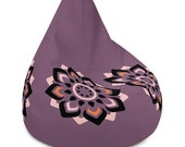 Purple Bean Bag Chair Cover with Black, Orange and Pink Flower Graphic Floral Design