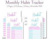 Monthly Habit Tracker | Daily Habit Tracker | Habit Tracker Printable | Routine Tracker Habits | Goal Planner | Habit Log | Letter | A4 | A5