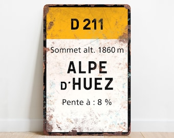 Alpe d'Huez - Vintage Style Cycling Road Sign Plaque - Gift for Cyclist