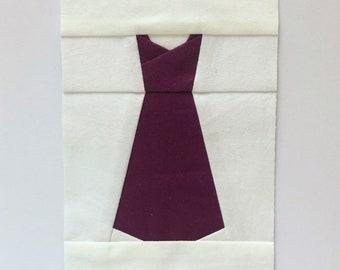 Dress Foundation Paper Piecing/FPP Quilt Block Pattern, Digital Download