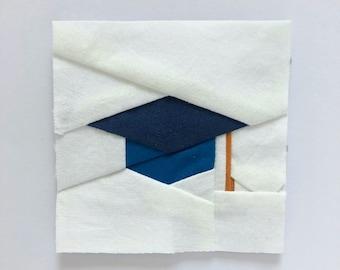 Graduation Cap Foundation Paper Piecing/FPP Quilt Block Pattern, Digital Download