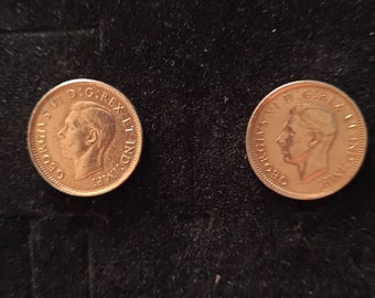 1945 Canadian 1 cent coin earrings with George VI. Non-peirced screw back