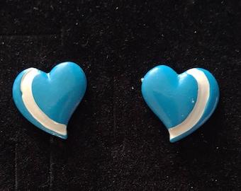 Vintage 80s blue enamel heart earrings with white stripe