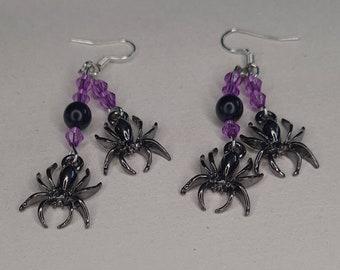 Halloween purple and black spider earrings
