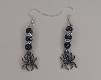 Spider Halloween black and silver drop earrings
