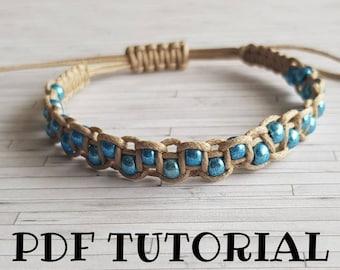 Beaded Friendship Bracelet Tutorial ~ DIY Macrame Pattern ~ Do It Yourself Macrame Bracelet Jewelry Tutorial ~ Step by Step PDF Pattern