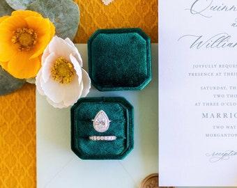 15+ Colors- Velvet Ring Box - Handmade Ring Box For Weddings, Photography Prop, Keepsake, Jewelry Storage