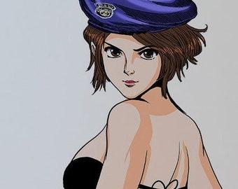 Jill Valentine Resident Evil Pinup Art Color Illustration Print 8.5x11 by Key & Chy