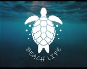 Sea Turtle Decal Sticker Beach Life Decal Multiple Vinyl Color Options Turtle Decal for Laptop Tumbler Car Window