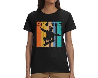 Women Skate Skateboarder Gift Skateboard Retro T-Shirt Women's Skateboarding Team Shirt Girls Skateboard Crew T-Shirts Girls Champion