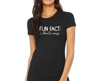 Women Fun Fact I Don't Care Shirts Cheerful Letter Print Tee Casual Summer Humorous Funny Saying Tops Crewneck T-Shirt Women