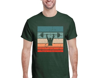 Vintage Powerlifting, Squat, Bench, Deadlift, Weightlifting Retro Sunset T Shirt USA 2021 Men Team T-Shirt