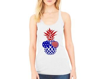 Womens American Flag Sunglasses Pineapple Tank Tops USA Stars 4th of July Patriotic Tee Shirt