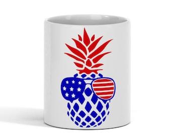 Patriotic Pineapple Sunglasses  Coffee Mug Hot Beverage Red White Blue 11oz. Ceramic