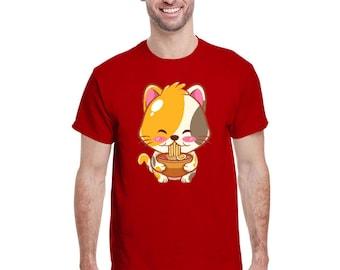 Ramen T-Shirt Cat Tshirt Kawaii Anime Tee Japanese Gift T-Shirt,  Japan Anime Shirt, Birthday Present Foodie Tokyo 2020, Japanese Noodles
