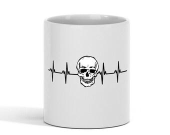 Heartbeat Skull Coffee Mug 11 oz Halloween mug, Skull mug, Skull Gift, Funny Tea Cup, Ceramic Microwave Cappuccino Women Men Kids white mug