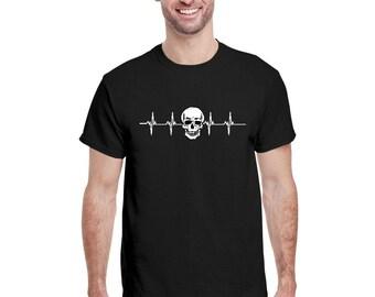 Men Heartbeat Skull Graphic Shirt Crewneck  Skull Tee Workout  Skeleton Tee Men Halloween Shirt Halloween Skull Costume Halloween Shirt