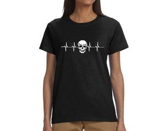 Women Funny Heartbeat Skull Graphic Summer Crew Neck Skull Halloween Workout Skeleton Tee Shirts