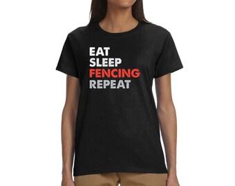 Womens Eat Sleep Fencing Repeat - Funny Sports Sword Crewneck T-Shirt Fencing Team Shirt