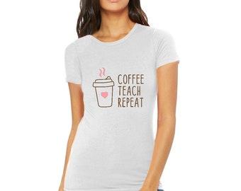Coffee Teach Repeat Heart Shirt Women Funny Letter Print Graphic T-Shirt Summer Casual Short Sleeve Tee Top Crewneck T-Shirt Women