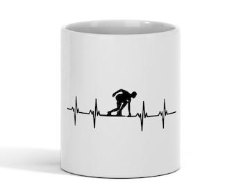 Track and Field Run Running Race Heartbeat Ceramic Coffee Mug Tea Cup