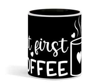 But First Coffee Design Black 11 Ounce Ceramic Coffee Mug
