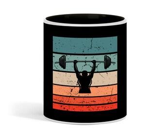 Vintage Weight Lifting  Mug Retro  Fitness Body Building  Ceramic Mug, 11 oz, Cofee Tea Sunset Cup