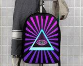 Illuminati Purple Art Minimalist Polyester Backpack
