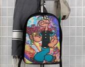 Graffiti Popeye Flowers Art Polyester Minimalist Backpack
