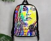 Rock&Roll Girl Model Graffiti Art Polyester Backpack