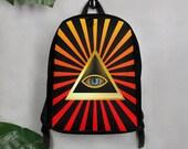 Illuminati Triangle Aye Orange Minimalist Backpack