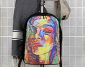 Graffiti Super Model Colorful Face Art Polyester Backpack