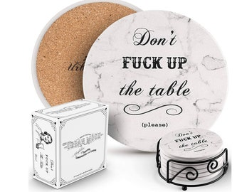 Funny Coasters for Drinks - Absorbent Ceramic Drink Coaster Set of 6 with Holder, Housewarming Hostess Gifts for New Home