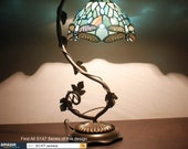 Tiffany Lamp - Bedside Lamp with Stained Glass Shade, Sea Blue Dragonfly Table Lamp with Antique Metal Leaf Thin Base for Small Space