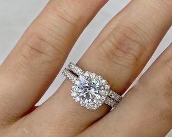 Sterling Silver Bridal Engagement Princess Cut Womens Ring Set Band Ring