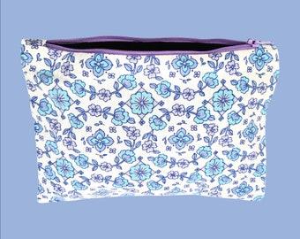 Kit patterns folk flowers blue sky lilac   Eco-friendly vintage fabric pouch  Upcycling