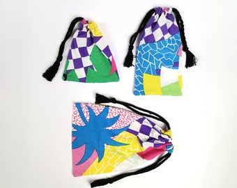 Pouch of your choice 80's beach   eco-friendly cord bag  Upcycling