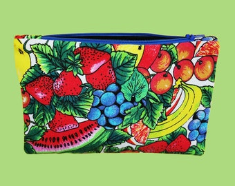 Flat case with fruit prints  Eco-responsible vintage fabric pouch  Upcycling