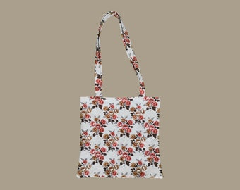 Totebag bag   Vintage floral tapestry pattern   Retro Autumn   Upcycling