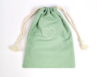 Hand-embroidered almond green heart pouch  All eco-responsible stuff  Upcycling