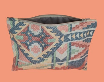 Flat kit geometric pattern western nature   Eco-responsible vintage fabric pouch  Upcycling