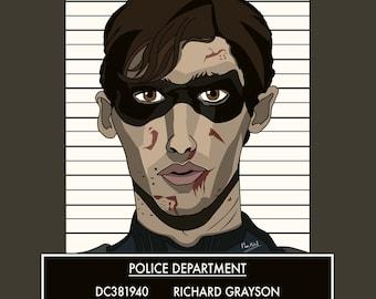 Nightwing Mugshot | Richard Grayson Framed Poster