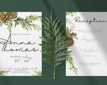 Winter Wedding Invitation Bundle, Fall Wedding /Winter Wedding Template with Pine Cones, Instant Download 6x4 and 7x5