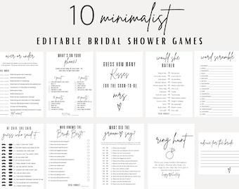 Minimalist Bridal Shower Games, Printable Bridal Shower Games, Wedding Shower Games, Editable Shower Games