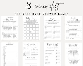 Minimalist Baby Shower Games, Printable Baby Shower Games, Baby Shower Games, Editable Shower Games